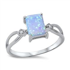Princess Cut Blue Lab Opal Clear CZ Ring New 925 Sterling Silver Band Sizes 4-10