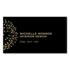 Business Card Template for Interior Designer, Lighting Designer, Decorator, Stylist or Blogger. The vintage modern starburst motif is unique and edgy for a stylish brand.