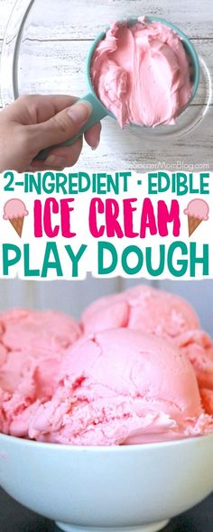 YUM!! We made a batch of Ice Cream Play Dough this week and the kids loved it! You only need 2 ingredients and it is taste safe, so it's the perfect sensory play activity for toddlers and preschoolers.