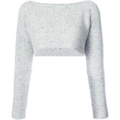 Baja East cropped ribbed jumper ($696) ❤ liked on Polyvore featuring tops, sweaters, grey, grey jumper, crop top, grey sweater, ribbed sweater and cashmere sweater