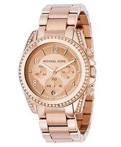 Michael Kors Watch, Women s Chronograph Blair Rose Gold-Tone Stainless  Steel Bracelet 41mm MK5263 81d4c7ca289