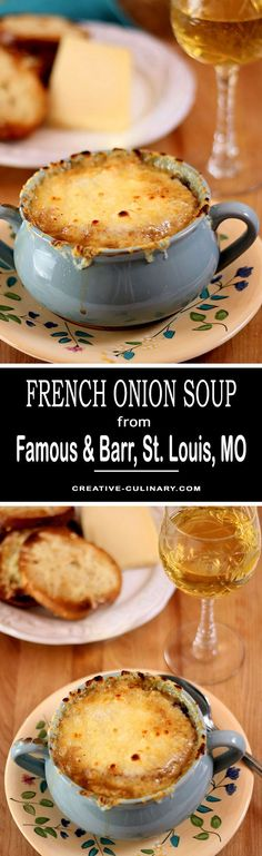 This French Onion Soup from Famous & Barr in St. Louis, MO is my all time favorite. The restaurant maybe be long gone but I'm so grateful this recipe was saved! Onion Soup Recipes, Healthy Soup Recipes, Chili Recipes, Lunch Recipes, Cooking Recipes, Onion Soups, Kid Cooking, Copycat Recipes, Cooking Ideas