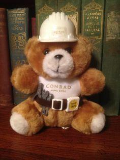 "Conrad Hotel Bear Hong Kong Construction Stuffed Animal Plush Rare 6"""