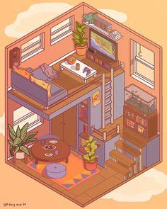 Isometric Drawing, Isometric Design, Kawaii Drawings, Cute Drawings, Art Studio Room, Bedroom Drawing, Art Assignments, Hello Kitty Wallpaper, Environmental Art