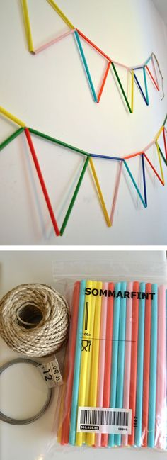 Straw Bunting DIY A great DIY nursery banner for baby made out of straws is a genius design hack. Diy For Kids, Crafts For Kids, Summer Party Themes, Diy And Crafts, Arts And Crafts, Diy Party, Party Ideas, Craft Projects, Crafty
