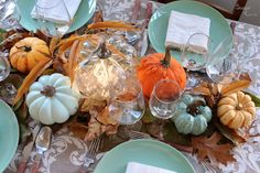 DIY Decor: Thanksgiving table - SUGAR LANE Thanksgiving Table, Thanksgiving Decorations, Table Decorations, Artificial Pumpkins, Pumpkin Decorating, Easy, Autumn, Sugar, Home Decor