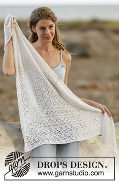 "Ethereal bliss / DROPS - free knitting patterns by DROPS design Knitted DROPS cloth in ""BabyAlpaca Silk"" with lace pattern. Free patterns by DROPS Design. Record of Knitting Yarn spinn. Lace Knitting Patterns, Shawl Patterns, Lace Patterns, Free Knitting, Knitting Machine, Drops Design, Baby Alpaca, Knitted Shawls, Crochet Shawl"