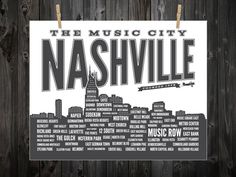 Nashville Neighborhood Poster, Nashville, Tennessee, Nashville Art, Nashville Print, Nashville Poster, Nashville Sign, Nashville Map.  Etsy.