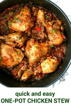 Chicken Stew with Mushrooms, a delicious one-pot dish that is bursting with the most amazing flavours. Easy to make, it only requires a few simple ingredients. No oven required. A healthy chicken dinner recipe. #chickendinner , #chickenrecipes , #stew, #famillyfood, #comfortfood , #onepot, #healthyeating