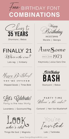 Free Birthday Font Combinations - Fonts - Ideas of Fonts - Free Birthday Font Combinations Police Dafont, Free Font Design, Font Free, Vector Design, Free Fonts For Cricut, Best Free Fonts, Free Fonts Download, Design Design, Farmhouse Font
