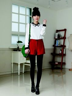 nice shorty shorts+tights+a blouse buttoned all the way up+a sparkly collar = k-fashi... by http://www.globalfashionista.xyz/k-fashion/shorty-shortstightsa-blouse-buttoned-all-the-way-upa-sparkly-collar-k-fashi/