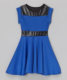 Look at this #zulilyfind! Royal Blue & Black Faux Leather-Trim Dress by Cheryl's Kids Creations #zulilyfinds