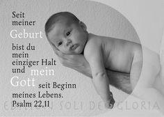 christliche Postkarte 94 - Geburt, Baby, Vertrauen, Halt, Psalm 22,11 - Bibel a la Carte - Christliche Karten