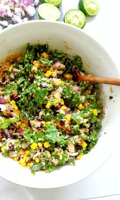 Spicy Kale and Quinoa Black Bean Salad by theglowingfridge: Crunchy, savory and bursting with flavor. #Salad #Kale #Black_Bean #Quinoa #Corn #Onion #Cilantro #Lime #Cumin #Hot_Sauce #GF