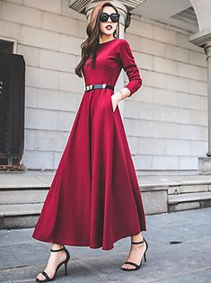 Round Neck Patch Pocket Plain Maxi Dresses - - Source by marwayay Maxi Dress With Sleeves, Floral Maxi Dress, The Dress, Dress Skirt, Plain Dress, Chiffon Maxi Dress, Cheap Party Dresses, Party Dresses Online, Dress Party