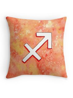 """Zodiac sign : Sagittarius"" Throw Pillow by Savousepate on Redbubble #throwpillow #homedecor #astrology #astrologicalsign #zodiacsign #sagittarius #red #orange #yellow #white #watercolorpainting"