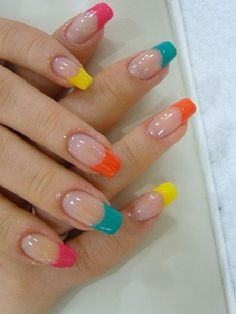 #nails #colorful #french #trend #fashion #nailcare #arganoil #pink #blue #orange #yellow