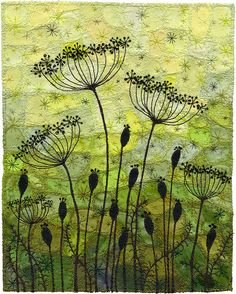 "Seedpods 6, Garden Silhouette- Drawing with thread. I make use of small scraps & pieces of fabric given to me by quilters. 8"" x 10"" ~by Kirsten Chursinoff"
