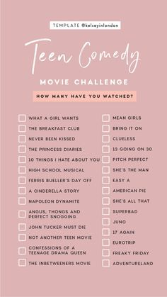 Challenge With Friends - All . -Film Challenge With Friends - All . - Story Templates – FILM/TV – Kelsey Heinrichs Story Templates – FILM/TV – Kelsey Heinrichs Romance Movie Challenge checklist by Kelseyinlondon How many have you watched? Netflix Movie List, Netflix Movies To Watch, Movie To Watch List, Good Movies To Watch, Movies To Watch Teenagers, Comedy Movies List, Netflix Netflix, Netflix Series, List Of Movies