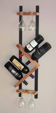 Wood Wine Rack 4 Bottle 4 Glasses Handmade by AdliteCreations Wine Bottle Wall, Wine Glass Holder, Wine Bottle Holders, Wine Bottles, Bottle Rack, Bottle Opener, Wood Wine Racks, Wine Rack Wall, Wood Projects