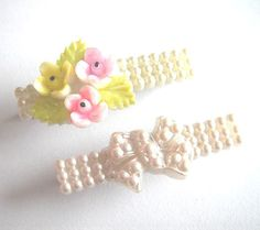 Vintage baby pink pearl bow and flower hair clips by bunnyboutique, $19.00