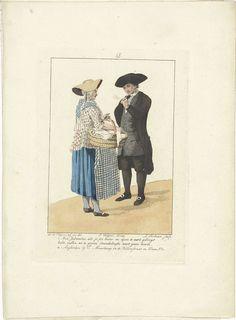 Ludwig Gottlieb Portman | Eierverkoopster en een heer, Ludwig Gottlieb Portman, Jacques Kuyper, Evert Maaskamp, 1806 - 1812 | Een eierverkoopster met een grote mand eieren onder haar arm, is in gesprek met een pijprokende heer.