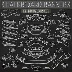 Chalkboard Clip Art: Chalkboard Clipart - Chalkboard Banners hand drawn clipart, banners clipart, ribbons clipart, typography in chalk style    This #Art #Chalkboard