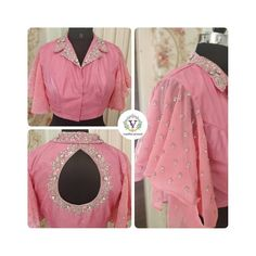 Collared blouse with ruffle sleeves. Stunning blsuh pink color collared blouse with hand embroidery work. 10 September 2019