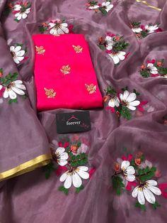 Organza Saree, Organza Dress, Chiffon Saree, Fancy Dress Design, Elegant Fashion Wear, Embroidery Saree, How To Look Classy, Blouse Designs, Designer Dresses