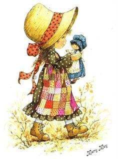Vintage postcard of a Big Eyed Girl and Boy Vintage Baby Cards Holly Hobbie, Mary May, Decoupage, Beatrix Potter, Cute Illustration, Vintage Children, Cute Art, Paper Dolls, Vintage Art