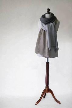 Knit shawl knit scarf linen shawl linen scarf by KnitwearFactory