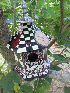 Oh hell yes! Alice In Wonderland Birdhouse by FaeriesInTheGarden on Etsy… Alice In Wonderland Garden, Wonderland Party, Winter Wonderland, Disney Garden, Lizzie Hearts, English Garden Design, Home And Garden Store, Bird Theme, Mad Hatter Tea