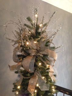 Diy Christmas Tree Bow Topper Fresh Silver And Gold Tree Topper Seasonal Planters Pinterest Artsvisuelscaribeens