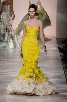 Georges Chakra | Spring 2015 Couture | 31 Yellow strapless maxi dress with white hem...simply beautiful