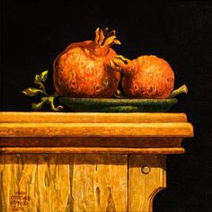🔴 SOLD⠀The still life with two pomegranates is, besides the surrealistic visions of the artist, one of his emblematic classical styles, where he loves to paint still life objects in the classic environment of fine art. Parks And Recs, Small Drawings, Art Society, Painting Still Life, Canvas Signs, Paintings For Sale, Art Oil, Oil On Canvas, Contemporary Art