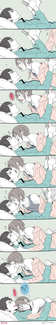 Sousuke x Rin (Kiss) #Free! I don't even ship it but it's too Kawaii not to