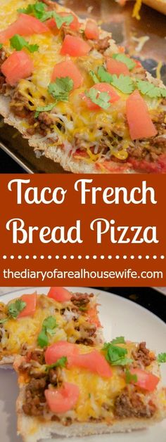 Taco French Bread Pizza. My two loves finally came together and it is awesome. Plus making pizza on french bread is SO easy!
