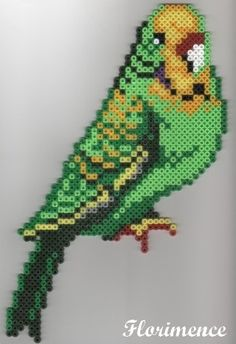 Parakeet hama perler beads by Florimence Perler Bead Designs, Hama Beads Design, Perler Beads, Perler Bead Art, Pearler Bead Patterns, Perler Patterns, Art Perle, Pixel Beads, Motifs Perler