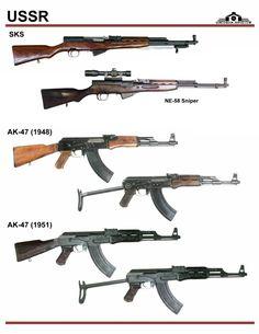 СССР / Россия: SKS, NE-58, AK-47 (1948), ...