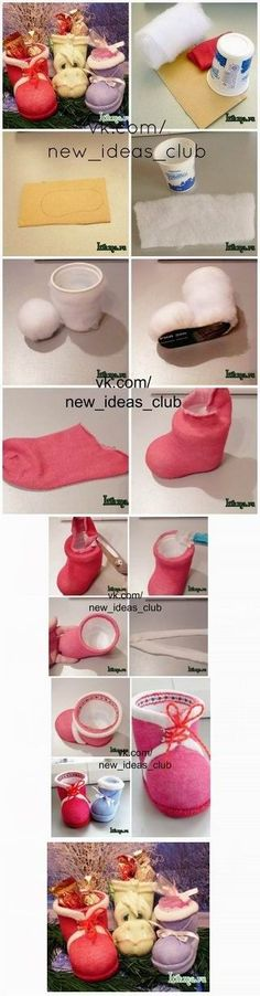 Soooo cute and easy to make santa booties - found at http://www.happy-giraffe.ru/community/24/forum/post/119503/