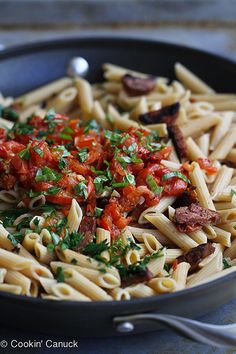 Roasted Tomato & Chicken Sausage Whole Wheat Pasta Recipe | cookincanuck.com #pasta by CookinCanuck, via Flickr