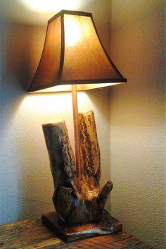 Items similar to Log Cabin Lamp on Etsy Diy Interior, Interior Lighting, Rock Lamp, Rustic Table Lamps, Cabin Lighting, Lighting Ideas, Driftwood Lamp, White String Lights, Luxury Furniture Brands