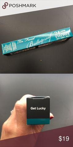 "Too Faced Bulletproof Eyeliner Color is ""Get Lucky"". Built in sharpener and smudge sponge in cap.  24 hour waterproof Sephora Makeup Eyeliner"