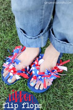 DIY Patriotic ribbon flip flops at GingerSnapCrafts.com_thumb