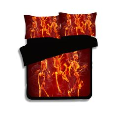 >> Click to Buy << Indian Flaming Skulls fire 3D bedding set Twin full queen king size comforter duvet covers bedclothes Adult bedroom decor black #Affiliate