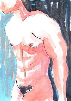 ARTFINDER: Male Nude Study by Ewa Dabkiewicz - Original painting from EVARTSTUDIO signed , on Canson art acid free paper 250 gm,  quality oil pastels, indian ink and Talens watercolor used