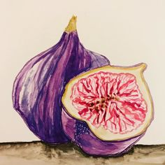 Last artwork of the day. My fig for this months watercolor challenge. I used Charlie OShields @doodlewashed watercolor dig as inspiration. #worldwatercolorgroup #figs #watercoloring #danielsmithwatercolor
