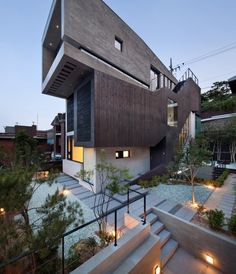 Architecture Project - The H-House. The Korean design group bang by min and architect Sae Min Oh created the H-House in Seoul, Korea. The modern house is Interior Exterior, Interior Architecture, Exterior Stairs, Future House, My House, House Art, Beautiful Homes, House Ideas, House Design