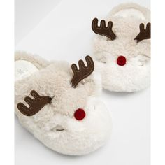 Reindeer fur mule slippers - OYSHO ❤ liked on Polyvore featuring shoes and slippers