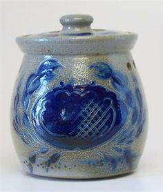 """Eldreth Pottery - 4.25"""" Tall x 3.5 Wide (at top) Salt-glazed Stoneware Garlic Pot with Blue Crab (One of a Kind)"""